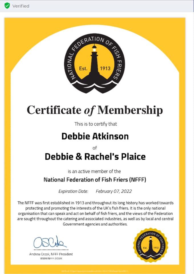 certificate of membership federation of fish fryers
